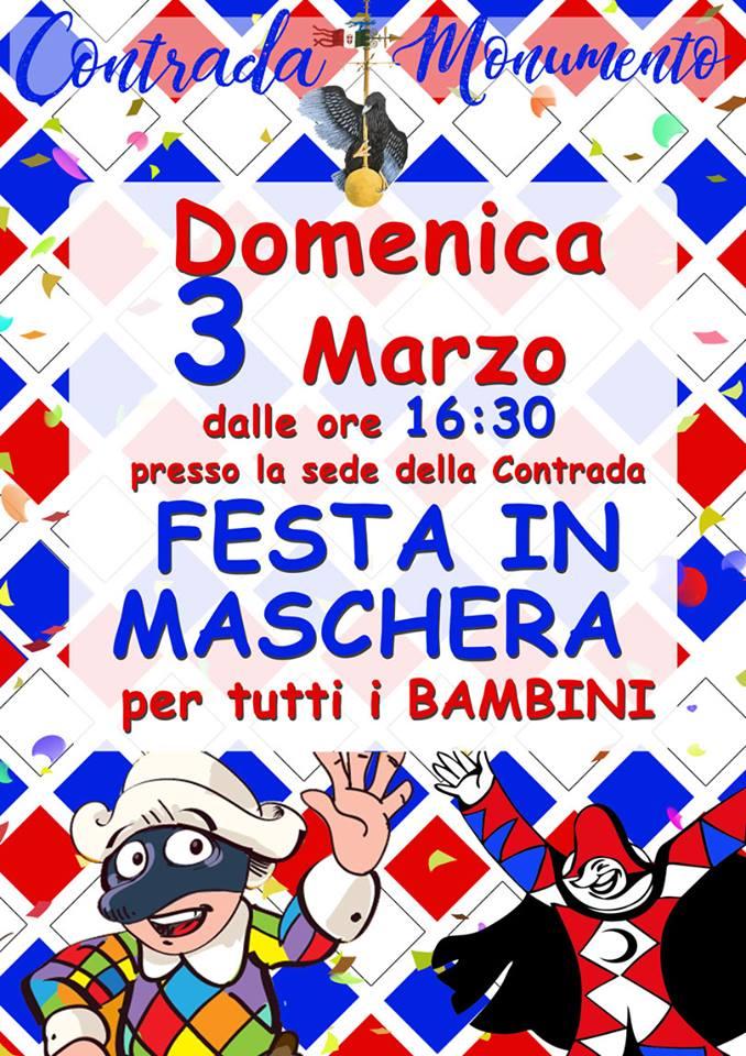 Palio di Castel del Piano, Contrada Monumento: 03/03 Festa in maschera per tutti ibambini