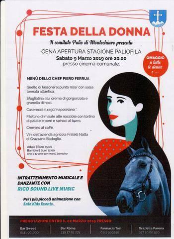 """Palio di Asti, Comitato Palio Montechiaro: 09/03 """"Festa della Donna"""" """"Cena Apertura Stagione Paliofila"""""""