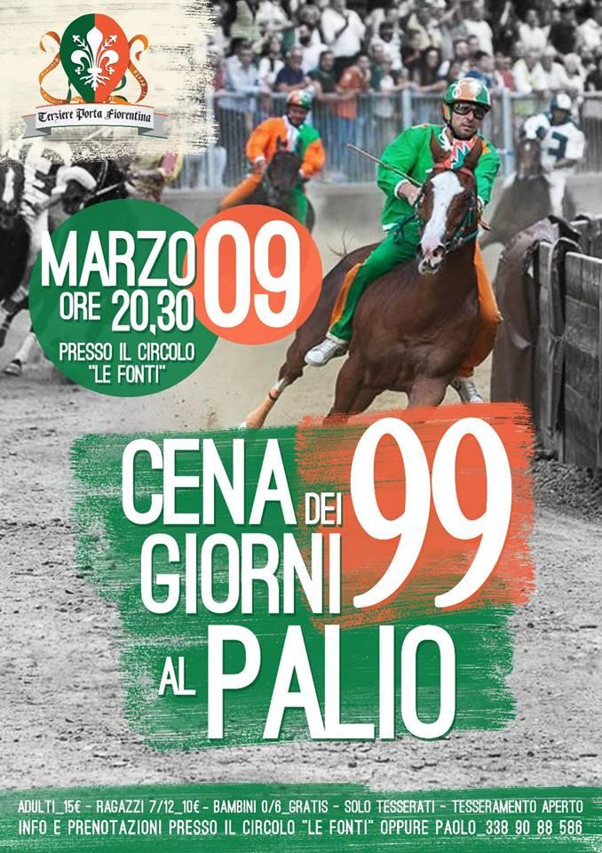 Palio di Castiglion Fiorentino, Terziere porta Fiorentina: 09/03 ore 20.30 Cena dei 99 Giorni alPalio
