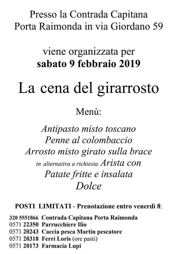 palio di Fucecchio, Contrada Porta Raimonda: 09/02 Cena delGirarrosto