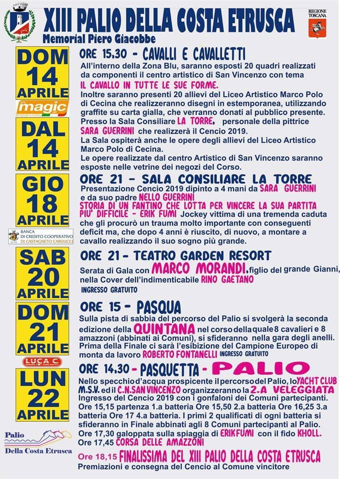 Palio della Costa Etrusca: 14-22/04 Programma Edizione2019