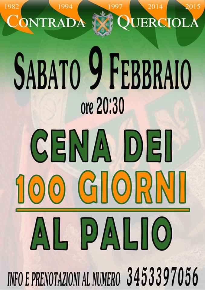 Palio di Fucecchio, Contrada Querciola: 09/02 Cena dei 100 Giorni alPalio