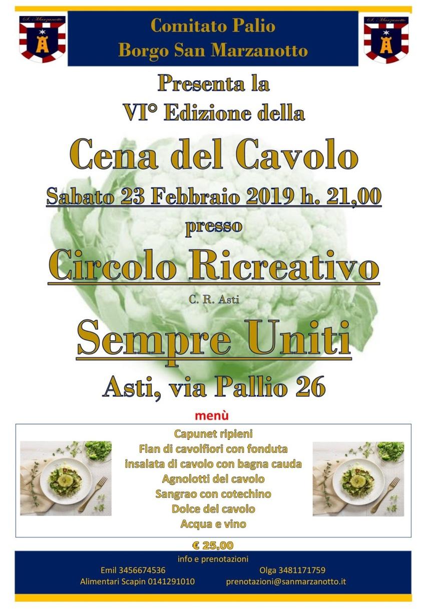 """Palio di Asti, Comitato Palio Borgo San Marzanotto: 23/02 VI^ Edizione della """"Cena delCavolo"""""""