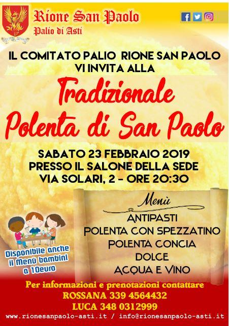 """Palio di Asti, Comitato Palio Rione San Paolo: 23/02 """"Tradizionale Polenta di SanPaolo"""""""