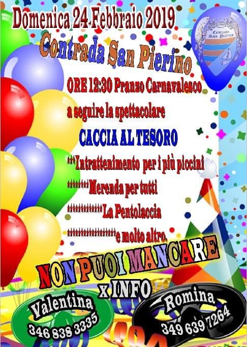 Palio di Fucecchio, Contrada San Pierino: Domani 24/02 Pranzo diCarnevale