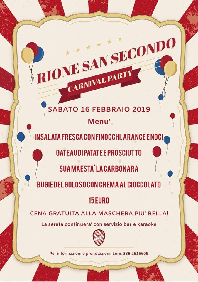 """Palio di Asti, Rione San Secondo: 16/02 """"CarnivalParty"""""""