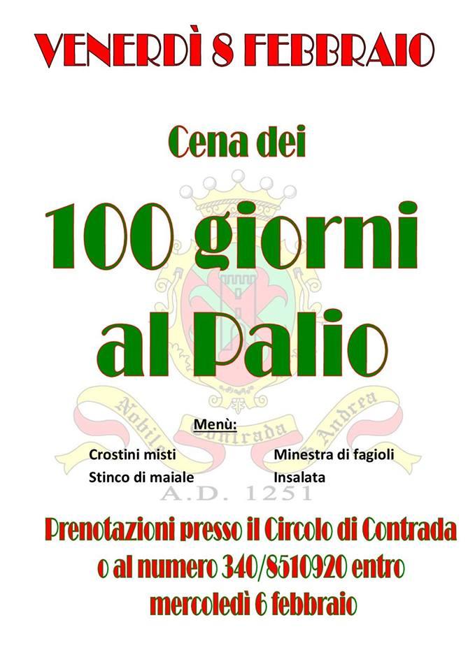 Palio di Fucecchio, Contrada Sant'Andrea: 08/02 Cena dei 100 Giorni alPalio