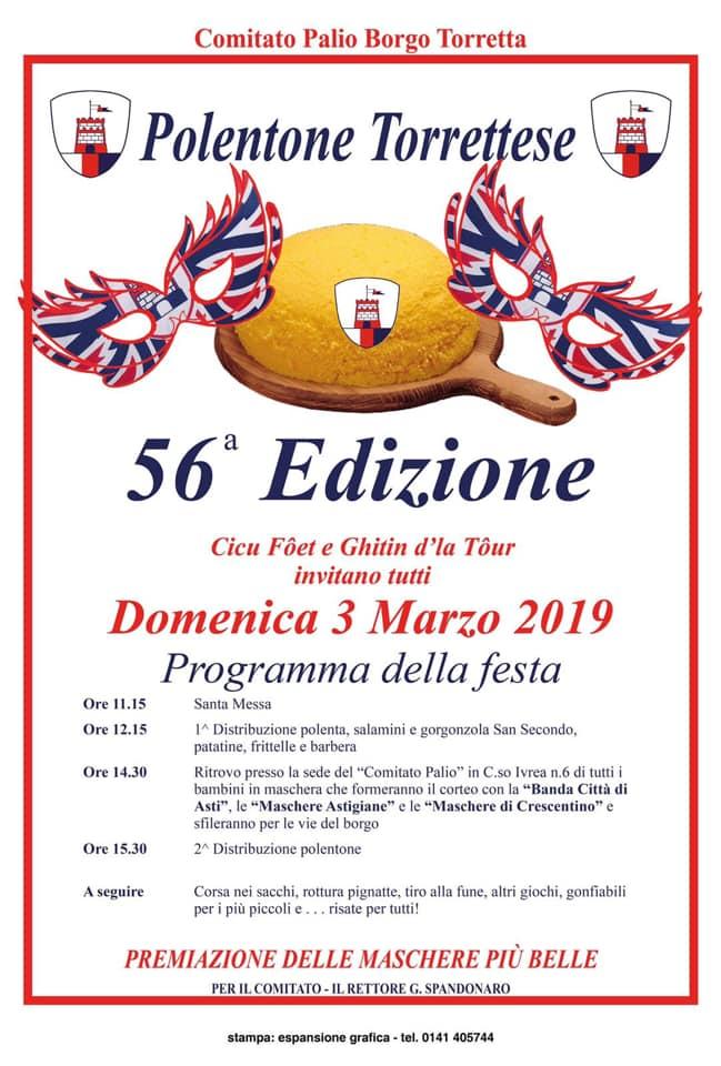 """Palio di Asti, Comitato Palio Borgo Torretta: 03/03 56^Edizione """"Polentone Torrettese"""""""