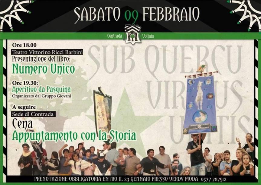 """Palio di Piancastagnaio, Contrada Voltaia: 09/02 Presentazione """"NUMERO UNICO"""" e Cena """"APPUNTAMENTO CON LASTORIA"""""""