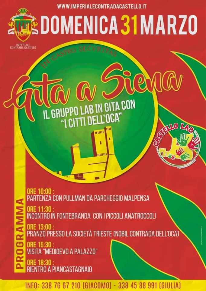 Palio di Piancastagnaio, Contrada Castello: 31/03 CastelloLab e Citti dell'Oca – Gita aSiena