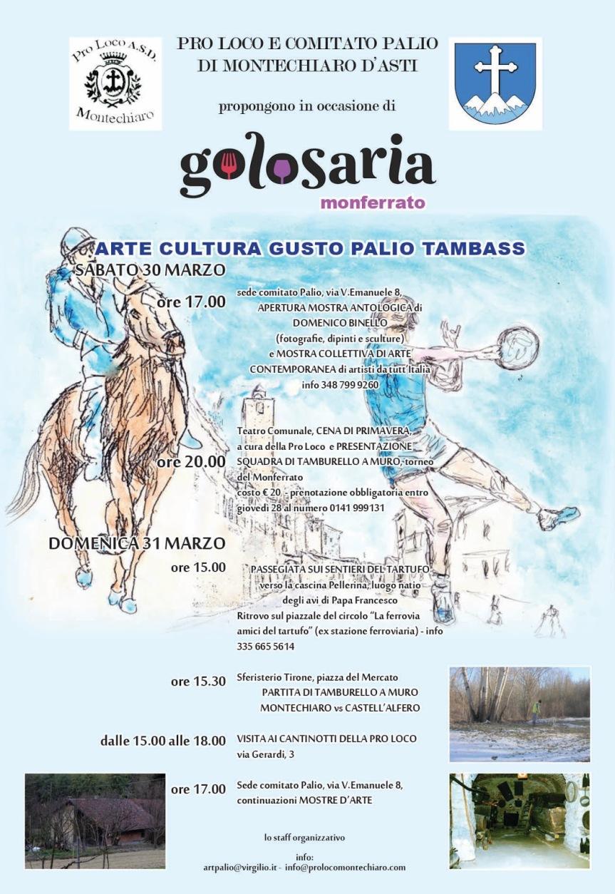 """Asti, Montechiaro: 30-31/03 """"Golosaria"""""""