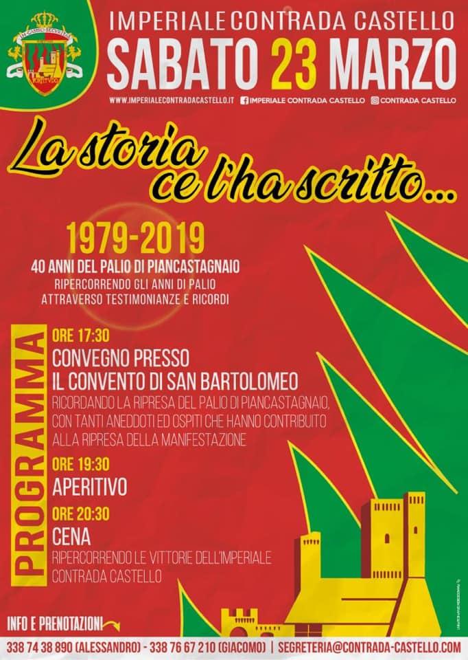 """palio di piancastagnaio, Contrada Castello: 23/03 """"La Storia ce l'ha scritto – 40 anni diPalio"""""""