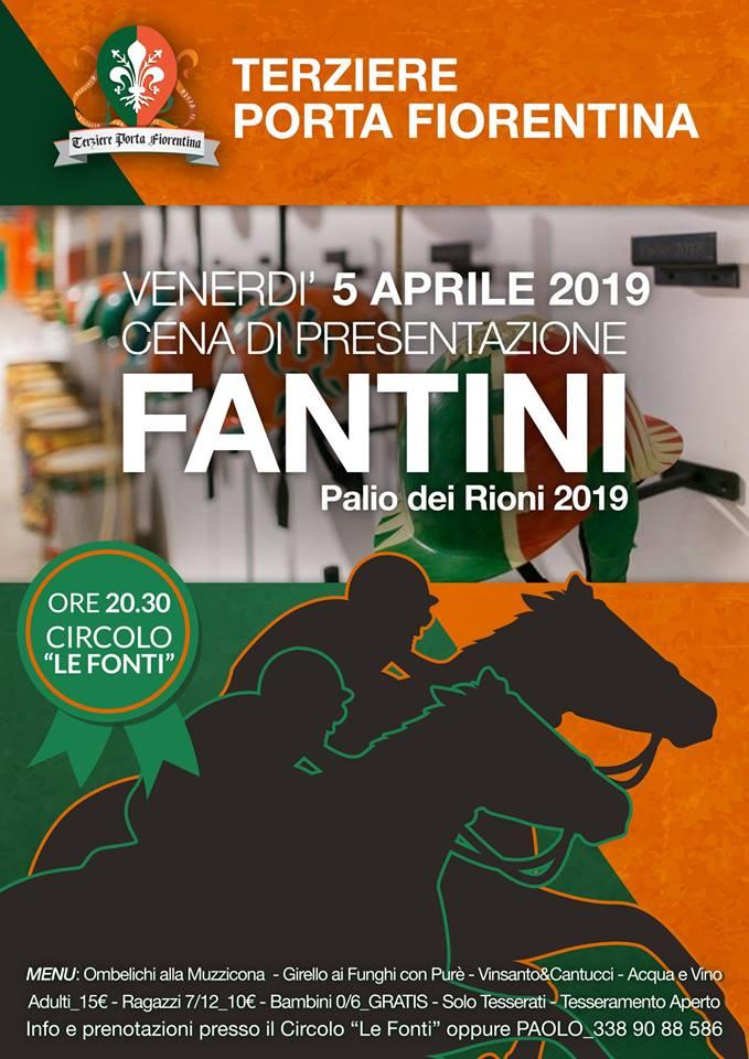 Palio di Castiglion Fiorentino, Terziere Porta Fiorentina: 05/04 Cena Di Presentazione Fantini – Palio2019