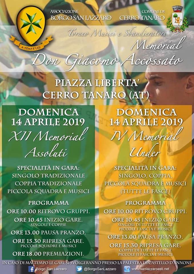 """Palio di Asti, Comitato Palio Borgo San Lazzaro: 14/04 """"Memorial Don Giacomo Accossato"""""""