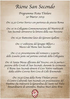 Palio di Asti, Rione San Secondo: Domani 30/03 Festa Titolare e Cena di Presentazione delFantino