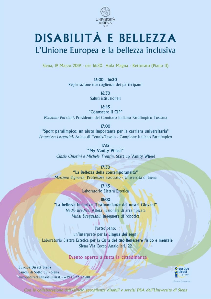 Siena: Oggi 19/03 ore 16.00 presso l'Università di Siena Disabilità eBellezza