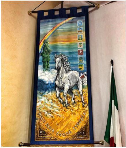 """Palio della Costa Etrusca: Il dettaglio del """"Cencio"""" dipinto da Sara e NelloGuerrini"""