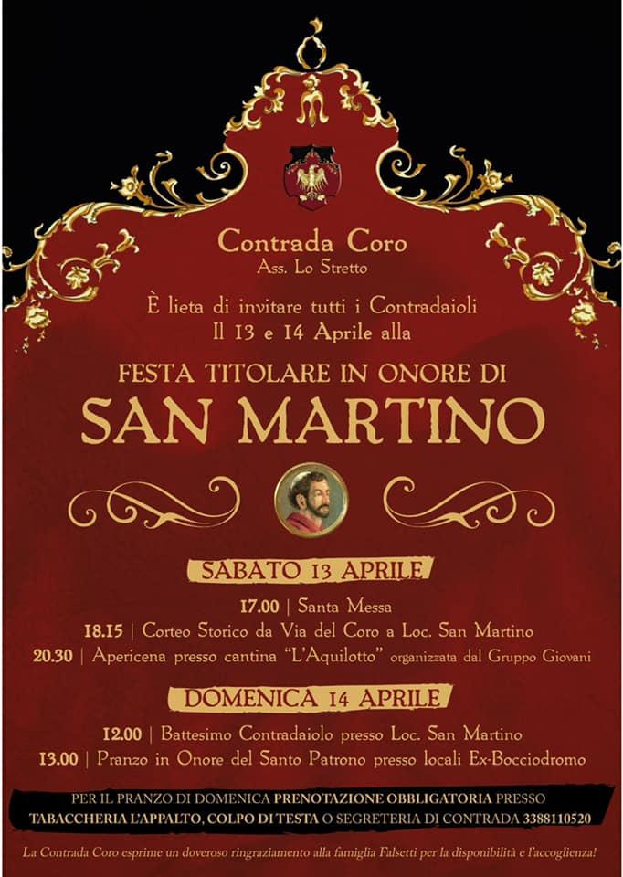"""Palio di Piancastagnaio, Contrada Coro: Oggi 13/04 e Domani 14/04 """"Festa Titolare in onore di S.Martino"""""""