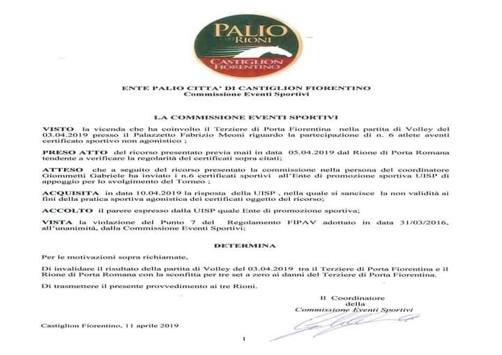 Palio di Castiglion Fiorentino: Ecco il Comunicato nel quale viene invalidato risultato volley Porta Fiorentina- PortaRomana