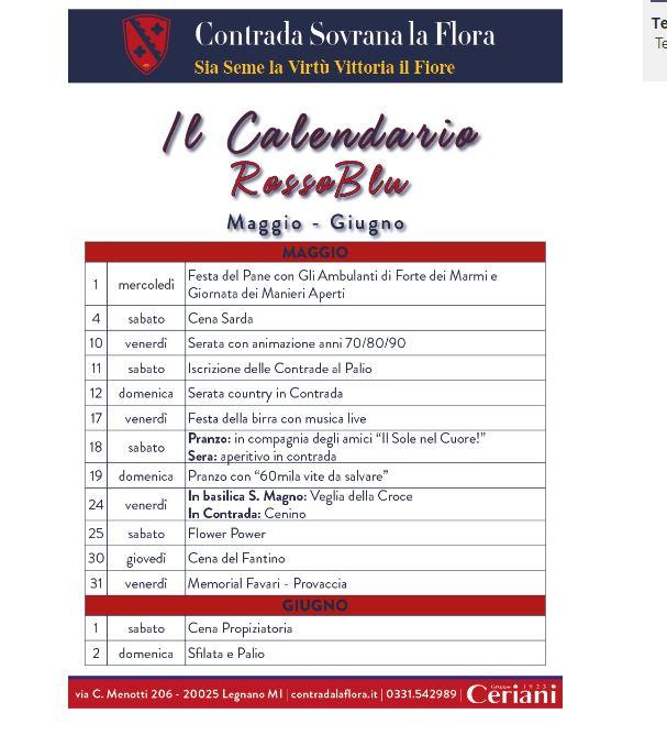 palio di legnano, Contrada la Flora: Ecco il calendario degli Eventi di maggio2019