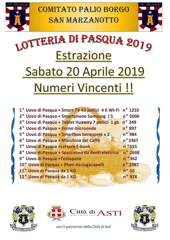 Palio di Asti, Comitato Palio Borgo San Marzanotto: I numeri estratti della Lotteria diPasqua