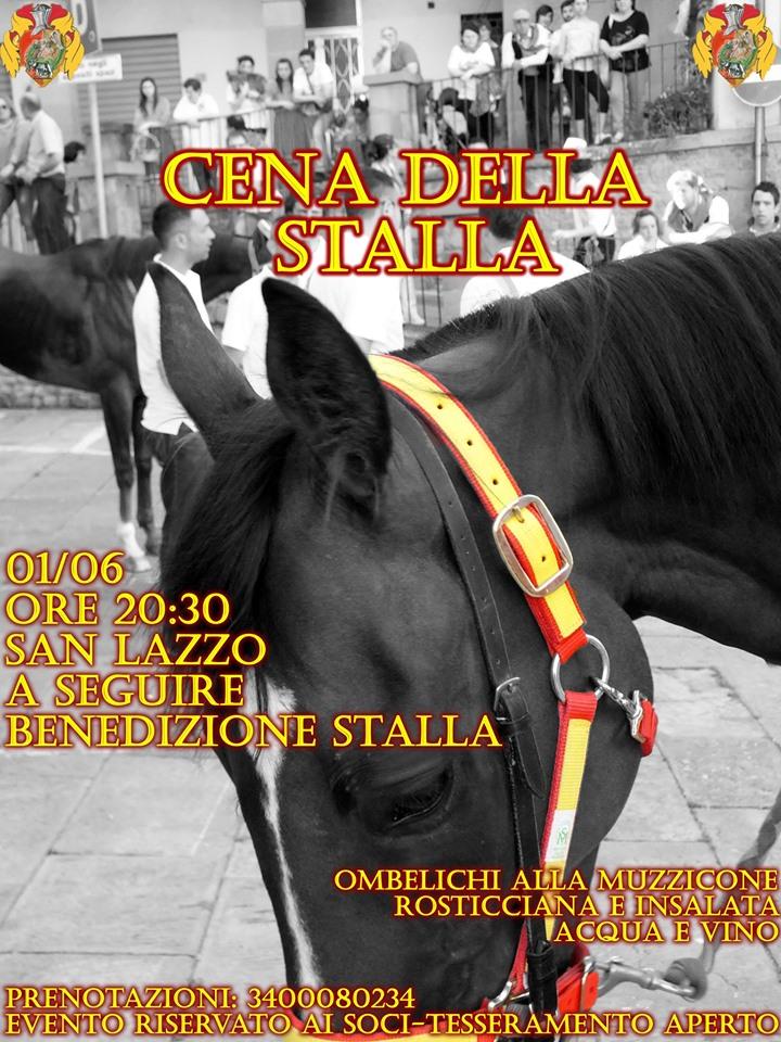 Palio di Castiglion Fiorentino, Rione Porta Romana: 01/06 Cena della stalla e benedizione dellastalla