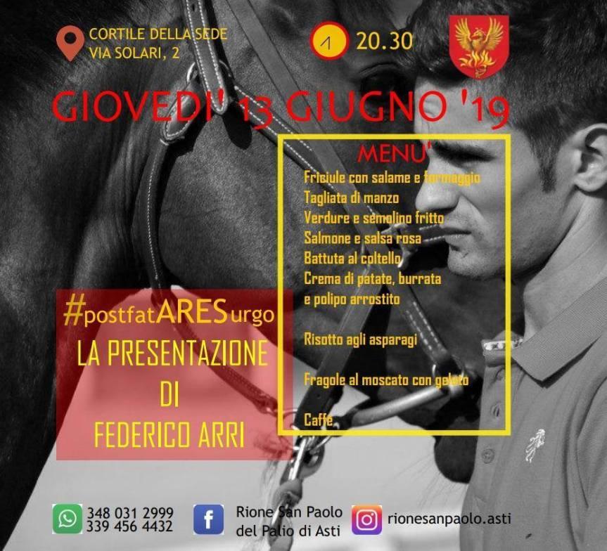 """Palio di Asti, Comitato Palio Rione San Paolo: 13/06 Presentazione fantino Federico Arri""""Ares"""""""