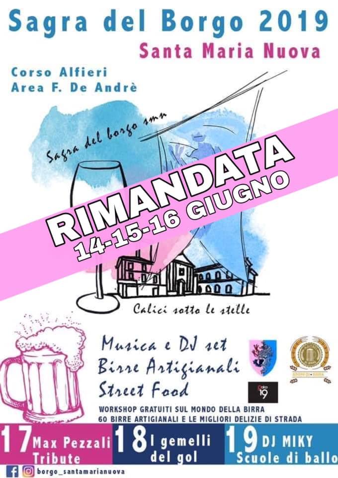 Palio di Asti, Comitato Palio Borgo Santa Maria Nuova: Rimandata per maltempo al 14-15-16/06 la Sagra del Borgo2019
