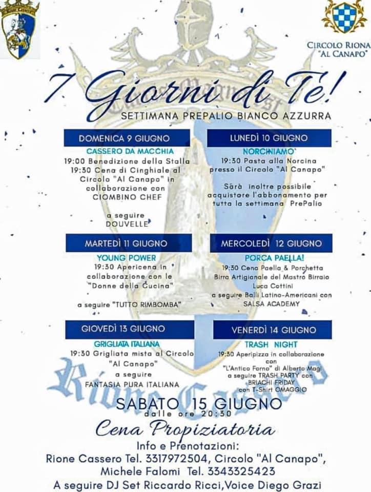 """Palio di Castiglion Fiorentino, Rione Cassero: 09-15/06 """"7 Giorni diTe"""""""