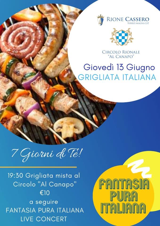 """Palio di Castiglion Fiorentino, Rione Cassero: 13/06 """"Grigliata Italiana"""""""