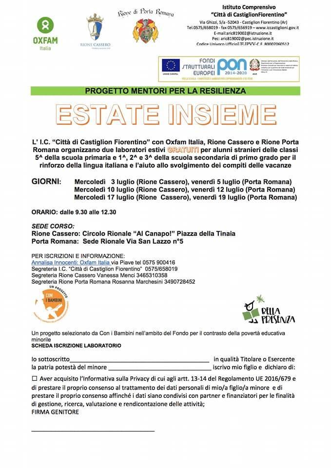 """Palio di Castiglion Fiorentino, Rione Cassero: 03-10-17/07 """"Progetto Mentori per la Resilienza EstateInsieme"""""""
