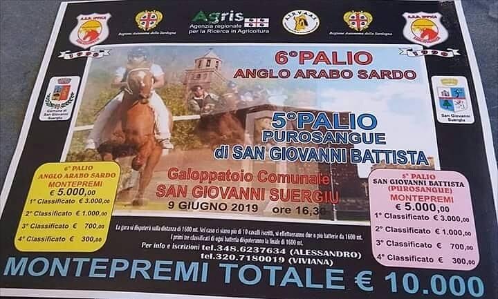 Sardegna, San Giovanni Suergiu: 09/06 6° Palio Anglo-Arabo, circuito Airvaas/ 5° Palio Purosangue San GiovanniBattista