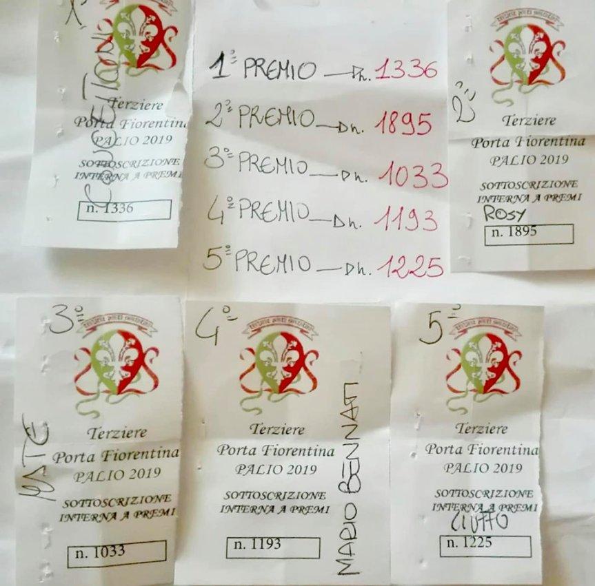 Palio di Castiglion Fiorentino, Terziere Porta Fiorentina: Oggi 11/06 Numeri Estratti Lotteria delTerziere