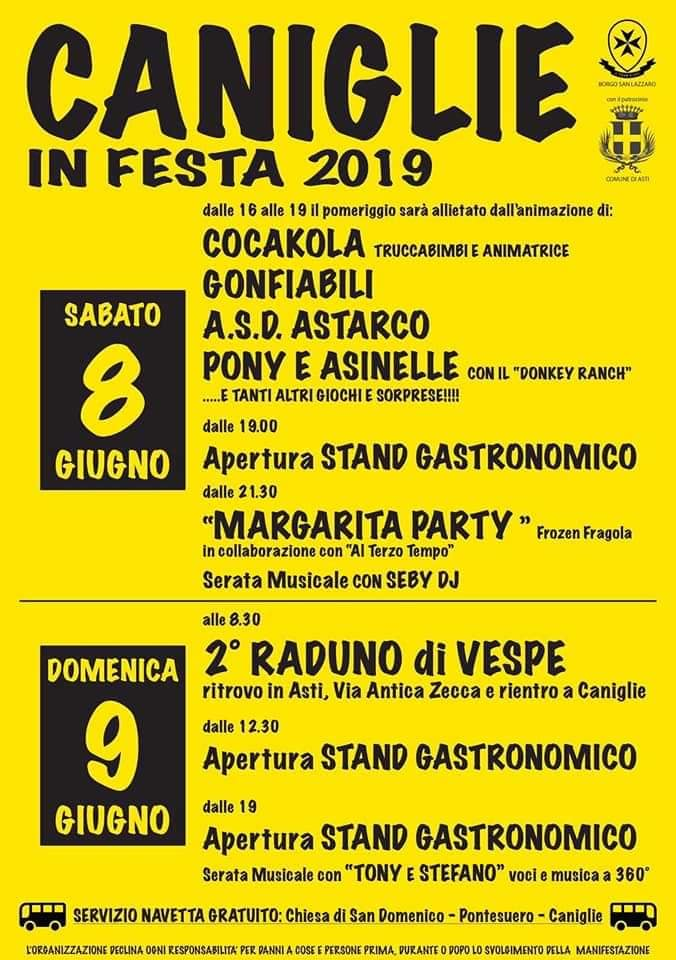 """Palio di Asti, Comitato Palio Borgo San Lazzaro: 08-09/06 """"Caniglie in Festa2019"""""""