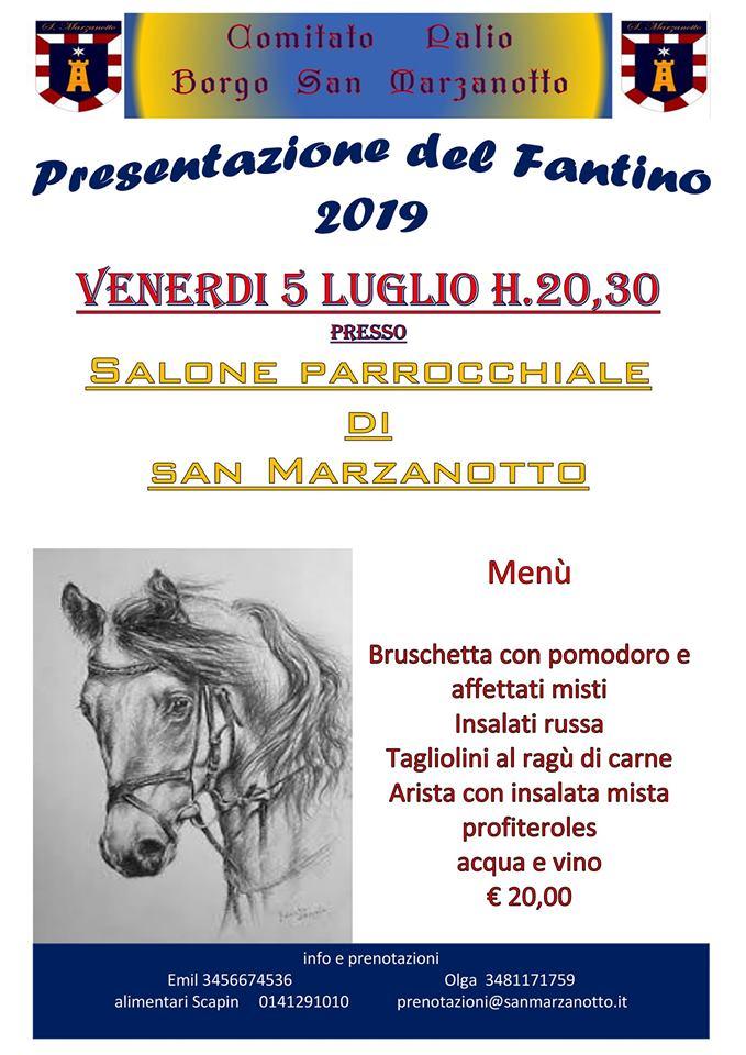 """Palio di Asti, Comitato Palio Borgo San Marzanotto: 05/07 Cena di Presentazione Fantino Alessandro Chiti detto """"Voragine"""""""