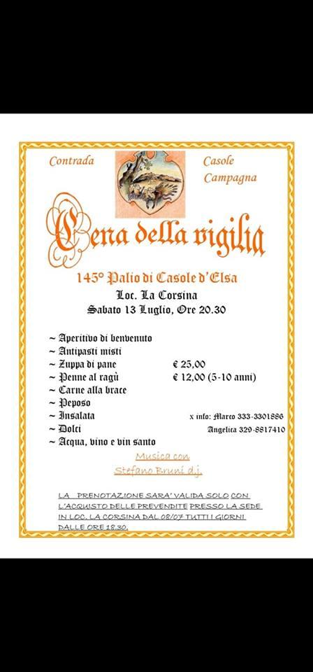 Palio di Casole d'Elsa, Contrada Casole Campagna: Oggi 13/07 Cena Vigilia 145°Palio