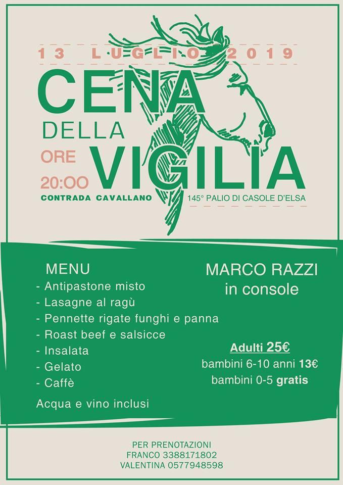 Palio di Casole d'Elsa, Contrada Cavallano: Oggi 13/07 Cena della Vigilia 145°Palio