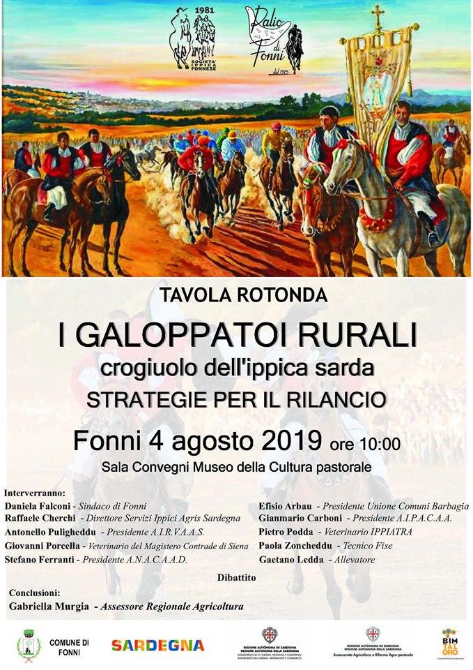 """Palii, Fonni: 04/08 ore 10.00 Tavola Rotonda """" I Galoppatoi Rurali, crogiuolo dell'Ippica Sarda, strategie per ilrilancio"""""""