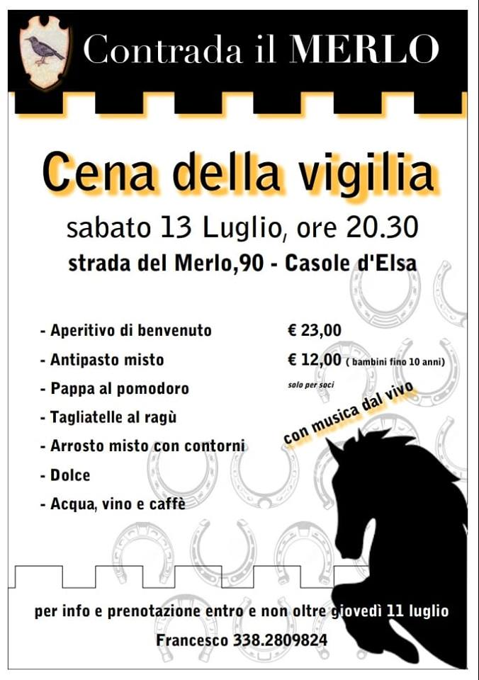 palio di Casole d'Elsa, Contrada Il Merlo: Oggi 13/07 Cena dellaVigilia