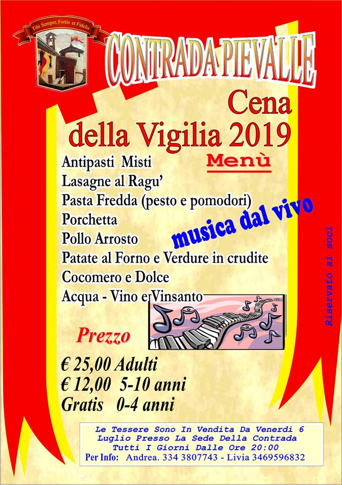 Palio di Casole d'Elsa, Contrada Pievalle: 13/07 Cena della Vigilia2019