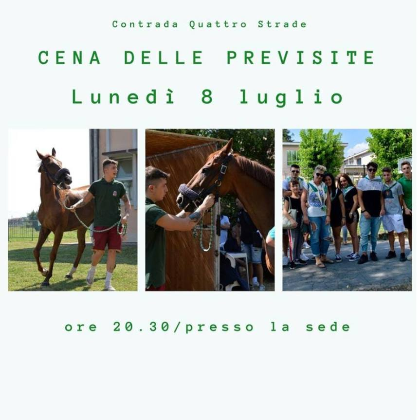 Palio di Bientina, Contrada Quattro Strade: Domani 08/07 Cena dellePrevisite