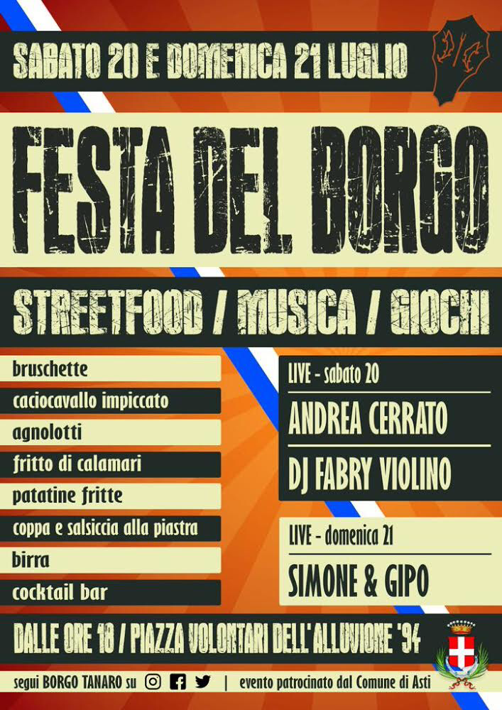 """Palio di Asti, Comitato Palio Brogo Tanaro-Trincere-Torrazzo: 20-21/07 """"Festa delBorgo"""""""