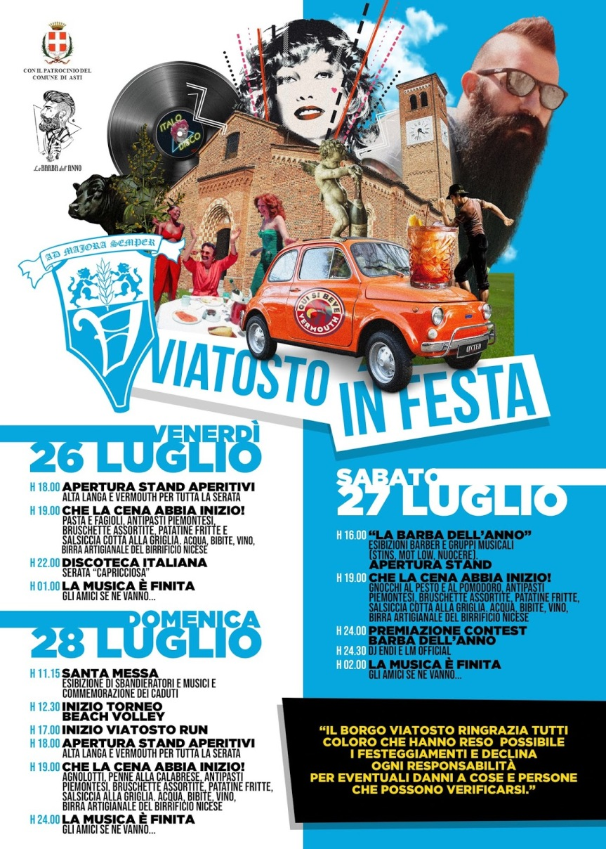 "Palio di Asti, Comitato Palio Borgo Viatosto: 26-27-28/07 ""Viatosto inFesta"""