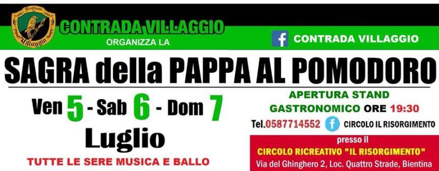 Palio di Bientina, Contrada Villaggio: Oggi 07/07 Ultimo appuntamento con la  Sagra della Pappa alPomodoro