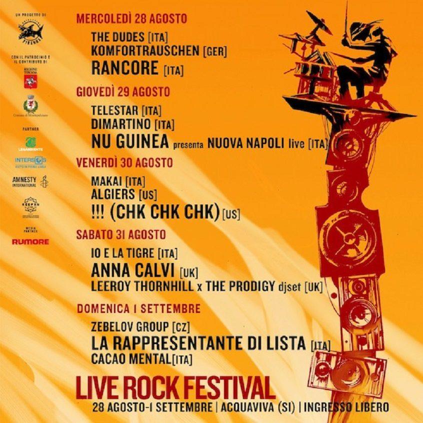 Provincia di Siena: Groove internazionale da Napoli e cantautorato indie al Live Rock Festival diAcquaviva