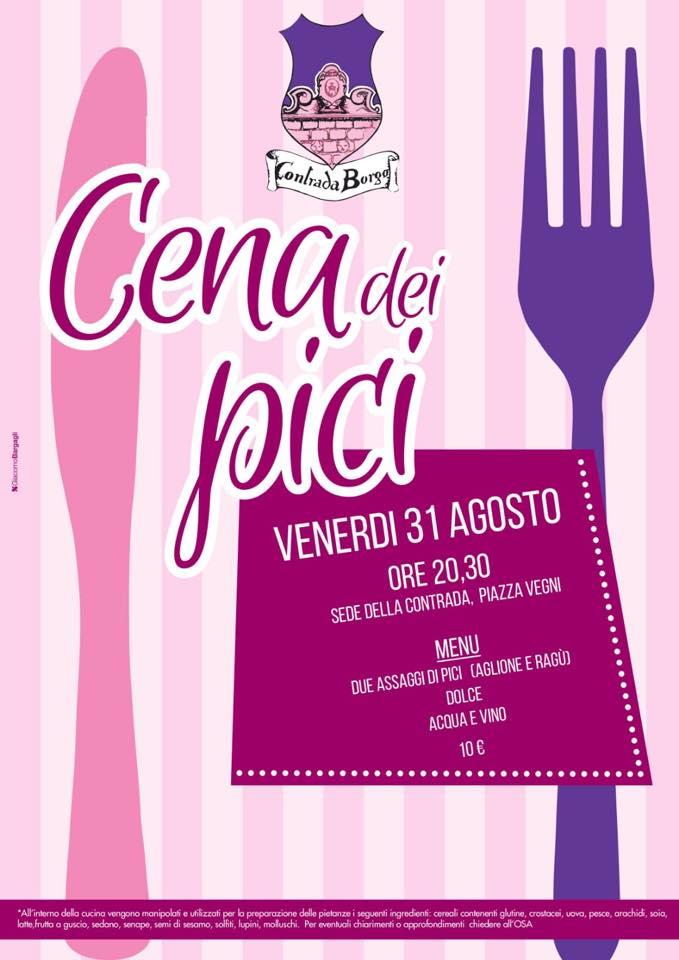 Palio di Castel del Piano, Contrada Borgo: 31/08 Cena deiPici