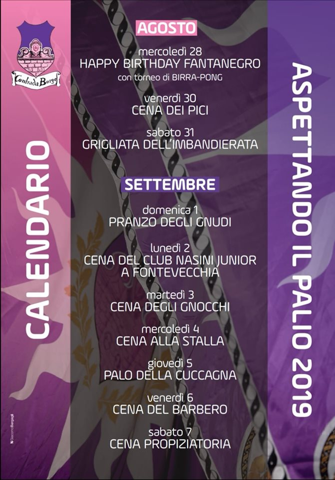 Palio di Castel del Piano, Contrada Borgo: Le Cene dal 28/08 al07/09