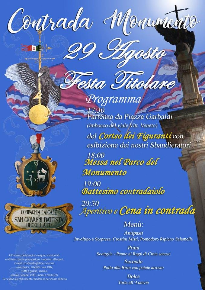 Palio di Castel del Piano, Contrada Monumento: Oggi 29/08 FestaTitolare