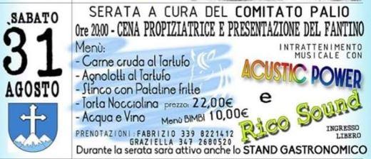 """Palio di Asti, Comitato Palio Montechiaro: 31/08 Cena Propiziatoria 2019 e presentazione fantino Alberto Ricceri detto """"Salasso"""""""