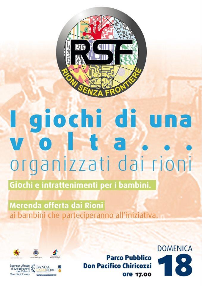 """Corse a Vuoto Ronciglione: 18/08 """"Rioni senza Frontiere"""""""